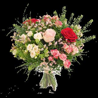 rose d'amour bouquet coloré pour anniversaire