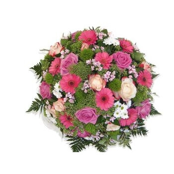 coussin rond rose